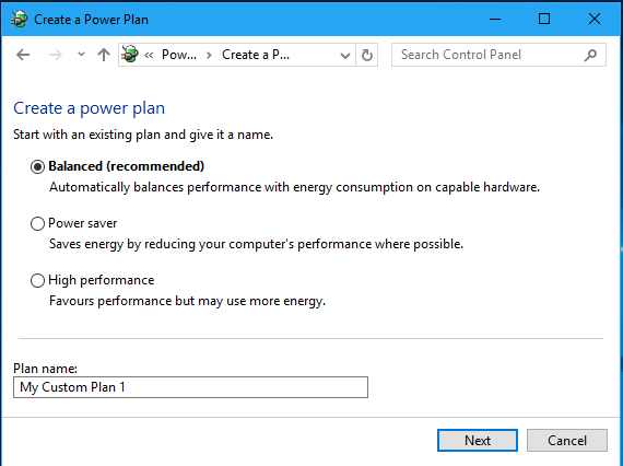 Create a power plan in the Windows Control Panel