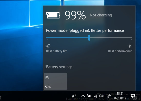 Configure the power settings in Windows 10