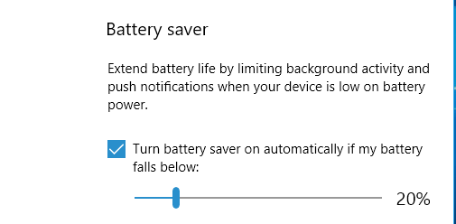 Battery Saver settings in the Windows 10 Settings app