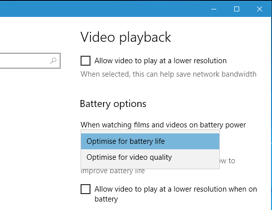 Options for playing videos when using battery power in Windows 10
