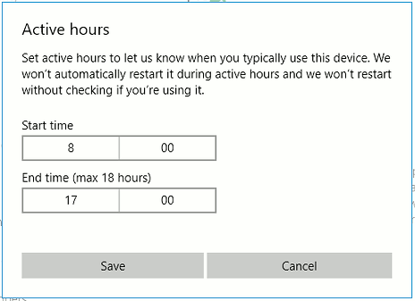 Set the active hours in Windows Update
