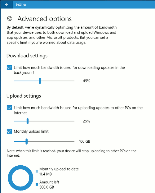 Windows Update delivery optimisation settings