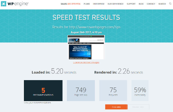 Website speed test results at WP Engine