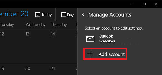 Add another account to Windows 10 Calendar app