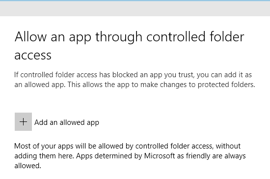 Add an add to allow through controlled folder access in Windows 10