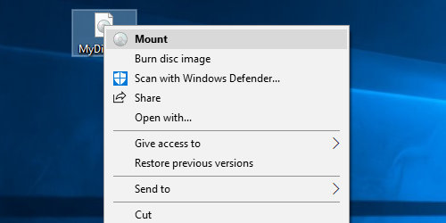 Mount a .iso file in Windows 10
