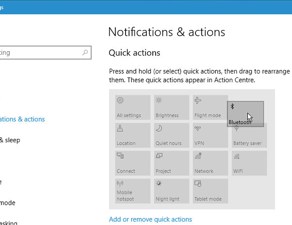 Rearrange the quick actions tiles in Action Centre in Windows 10