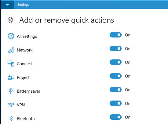 Show or hide quick actions buttons in Action Centre