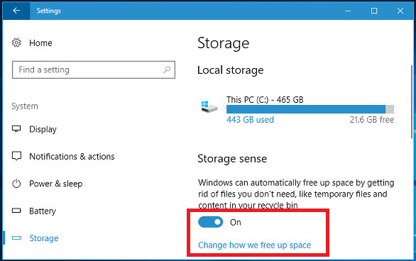 Enable Storage Sense in Windows 10 to save disk space