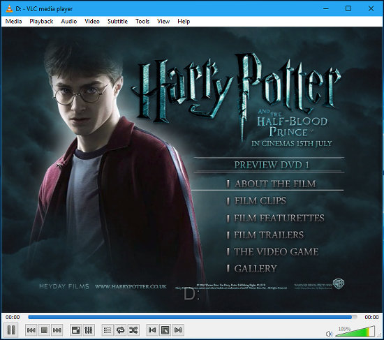 Playing a DVD in VLC media player in Windows