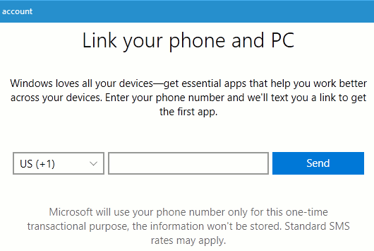 Enter your phone number to set up Phone in Windows 10