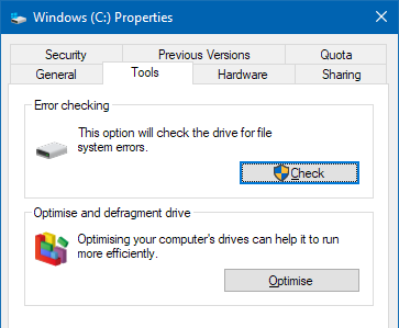 Check the disk for errors in a Windows PC