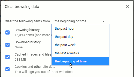 Clear browsing history in Chrome