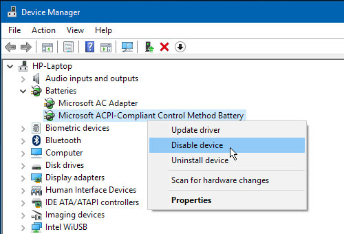 The Batteries section in Windows Device Manager