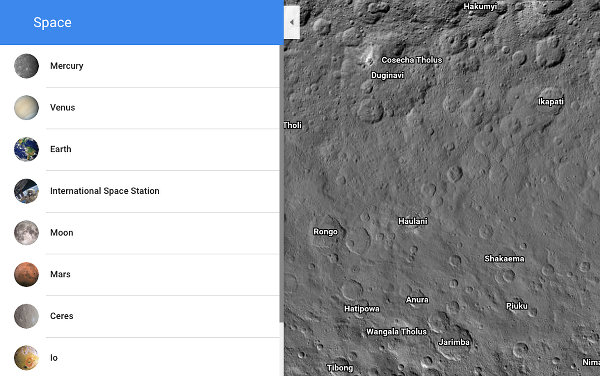 Google Maps views of the planets and moons