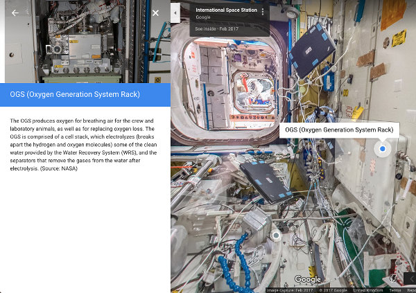 Inside the International Space Station using Google Maps