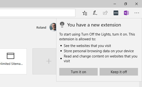 Activate an extension in Microsoft Edge