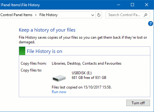 File History backup in Windows 10