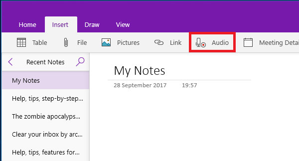 Insert an audio recording in a OneNote note