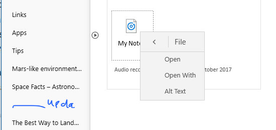 File operations on a OneNote audio note