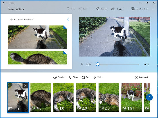 The video editor in the Windows 10 Photos app