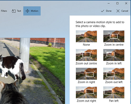 Motion effects can be added to photos in the Windows 10 Photos app