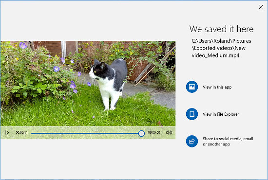 Save and share the video created in the Windows 10 Photos app