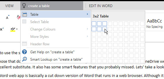 Insert a table into a Word document