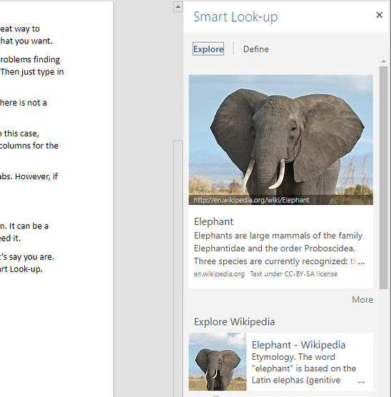 The Smart Look-up feature in Word online