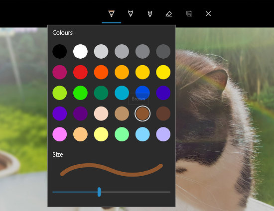 The drawing tools in the Windows 10 Photos app