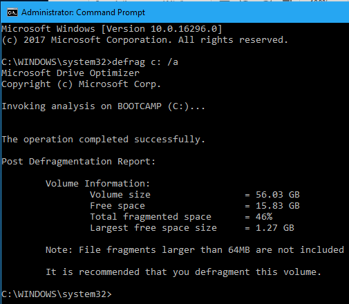 Check the disk for fragmentation in Windows from the command prompt