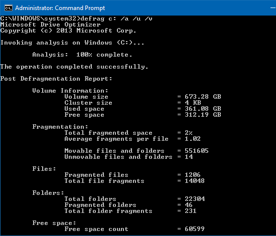 See a disk fragmentation report using defrag from the command line