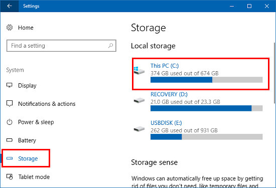 Disk space usage in the Windows 10 Settings app