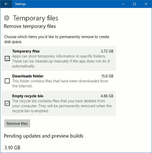 Clean temporary files in the Windows 10 Settings app