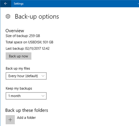 File History in the Settings app in Windows 10