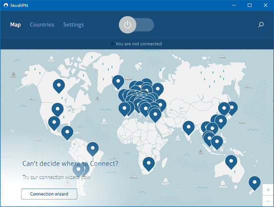 The map of server locations around the world in NordVPN