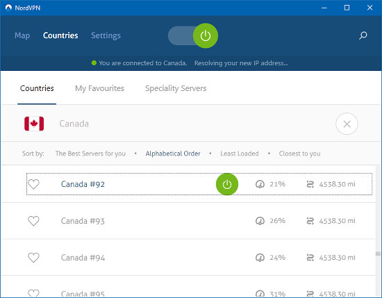 NordVPN server list by country