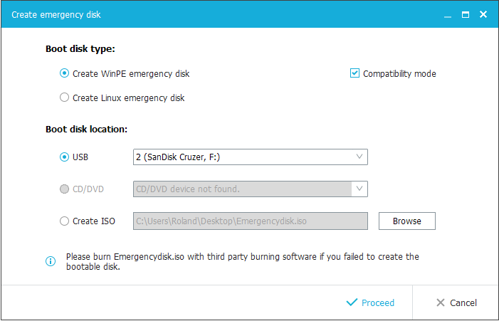 Create an emergency PC boot disk or USB stick