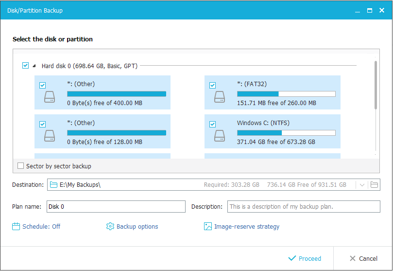 EaseUS Todo Backup. Back up the disk and partitions