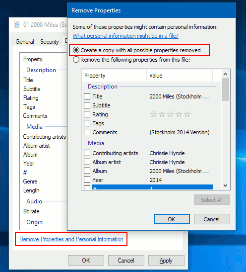 Remove file meta information and properties in Windows