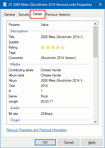 The meta information stored within a music file in Windows