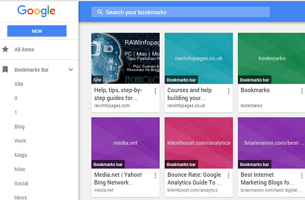 Google Bookmark Manager extension for Chrome