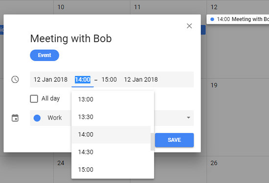 Set the start and even time of an event in Google Calendar