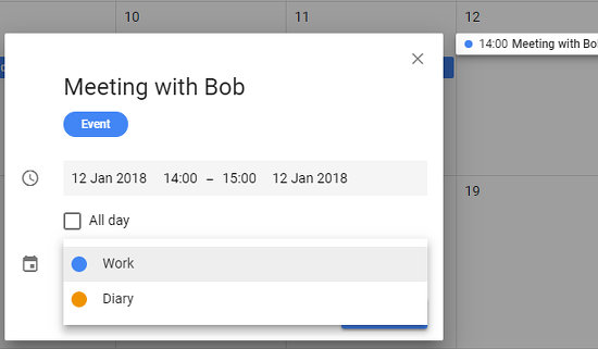 select the calendar to add an event to in Google Calendar