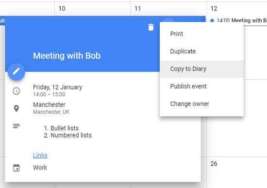 The menu options for an event in Google Calendar