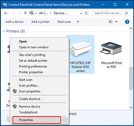 Printers and Devices in the Windows Control Panel