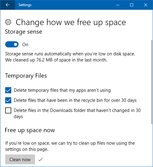Storage sense in Windows 10 cleans up junk files on the disk