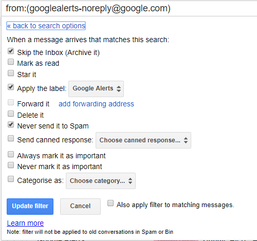 Create a rule in Gmail to process emails