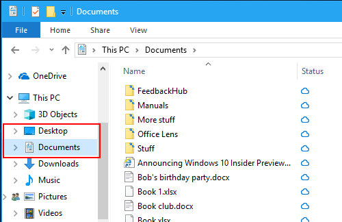Move your desktop and documents to OneDrive