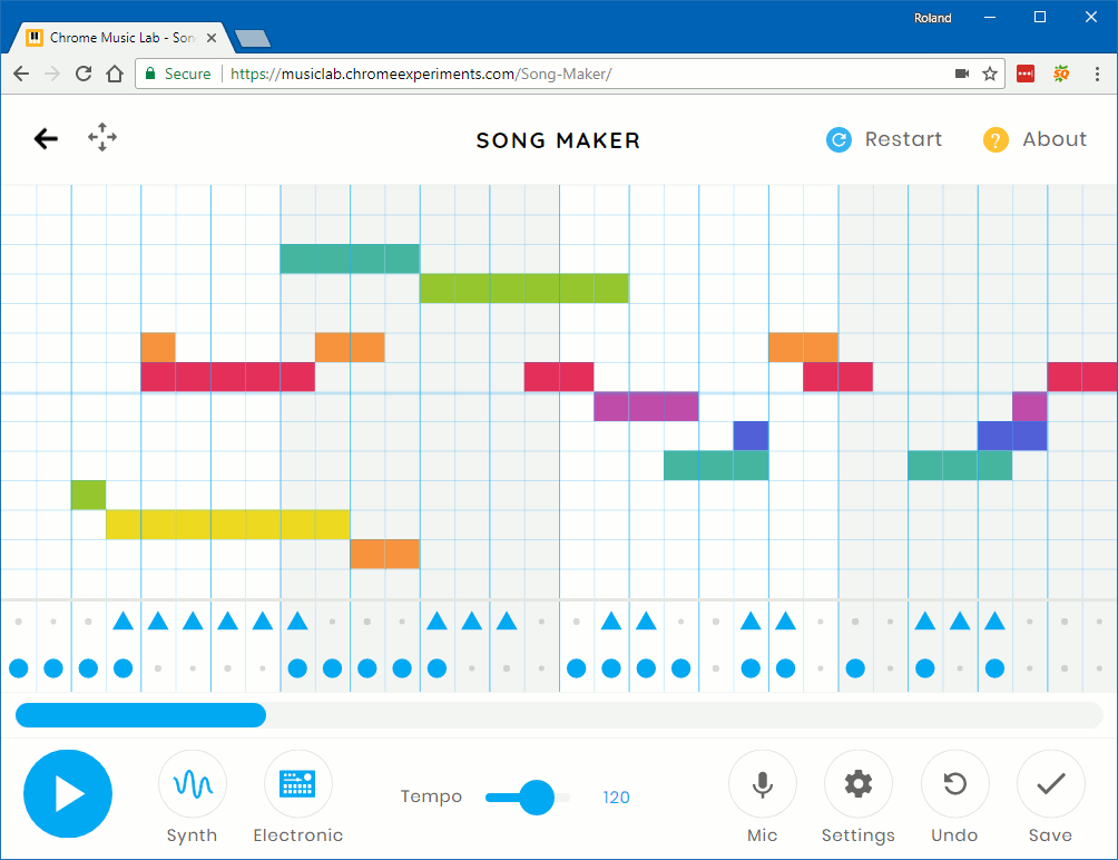 maker song chrome lab google grid note melody experiment higher square create